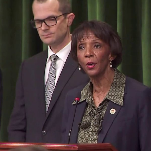 Los Angeles County District Attorney Jackie Lacey announces sexual assault charges against Harvey Weinstein on Jan. 6, 2019. (Credit: KTLA)