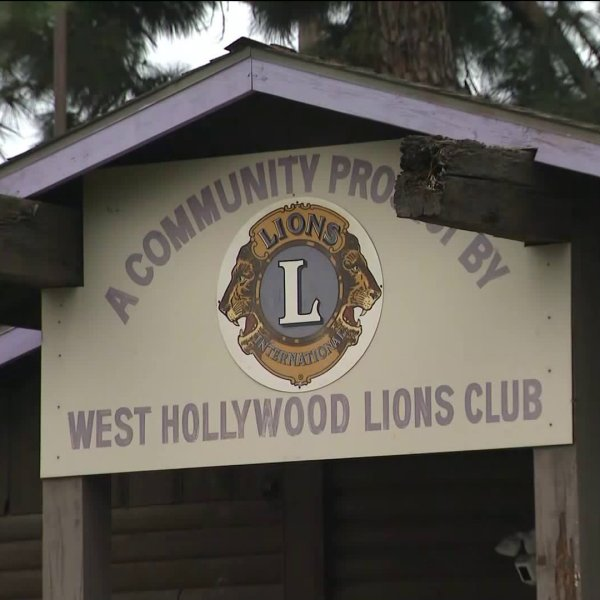 The Lions Club log cabin in West Hollywood is seen on Jan. 16, 2020. (Credit: KTLA)