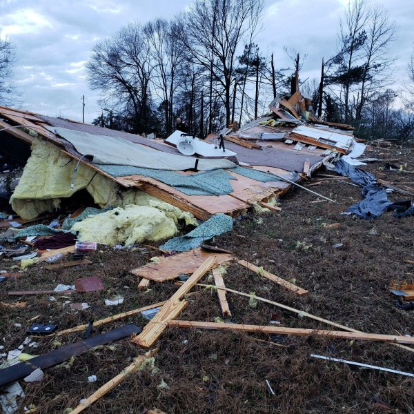 The Bossier Parish Sheriff's Office posted this image on Jan. 11, 2020 of wreckage from a storm sweeping the South.