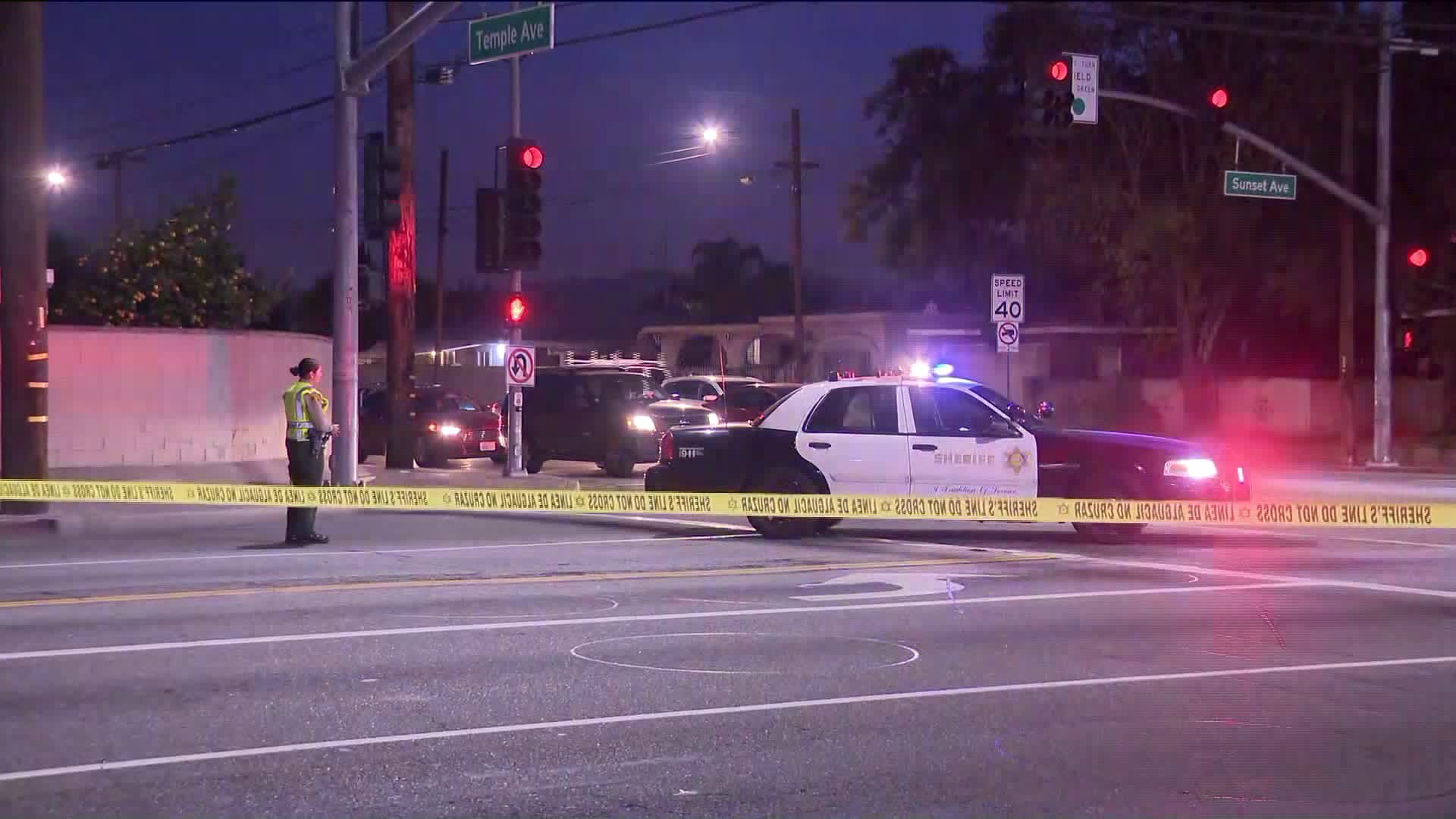 Authorities investigate the scene of a shooting that left two men wounded in La Puente on Jan. 30, 2020. (Credit: KTLA)