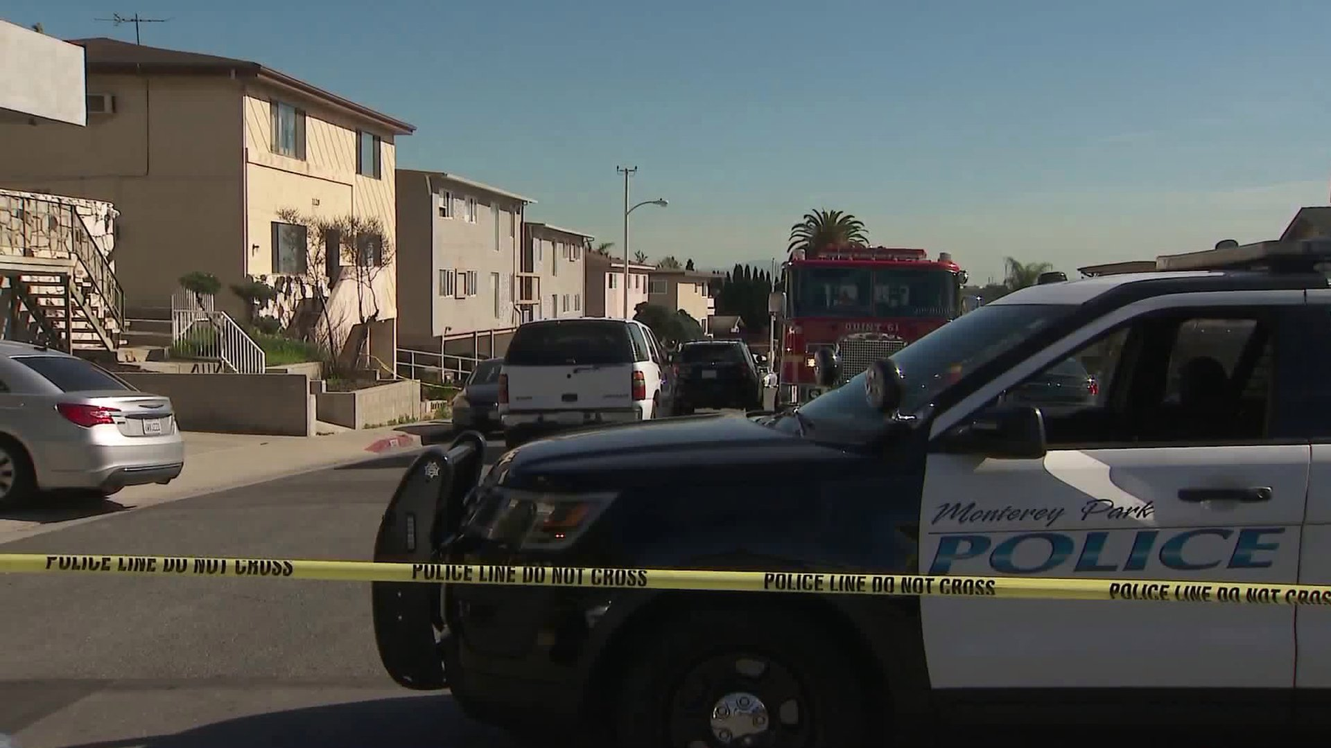 Police respond to a death investigation in Monterey Park on Jan. 31, 2020. (Credit: KTLA)