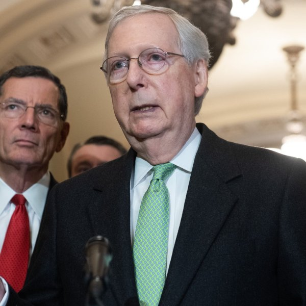 Senate Majority Leader Mitch McConnell, Republican of Kentucky, holds a press conference at the US Capitol in Washington, DC, December 17, 2019. (Credit: SAUL LOEB/AFP via Getty Images)