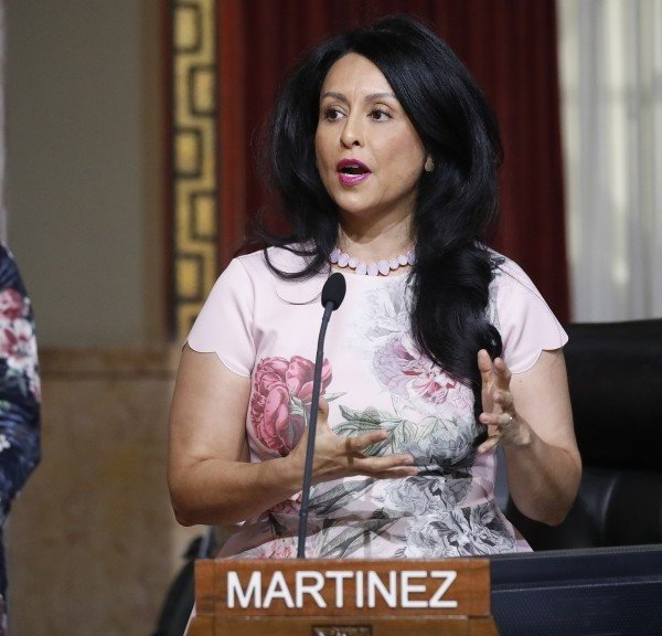 Los Angeles City Councilwoman Nury Martinez addresses council members in December 2019 after she was elected council president. (Credit: Al Seib / Los Angeles Times)
