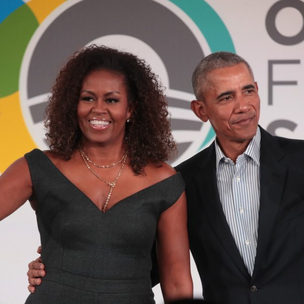 Former President Barack Obama and his wife Michelle close the Obama Foundation Summit together on the campus of the Illinois Institute of Technology on October 29, 2019 in Chicago. (Credit: Scott Olson/Getty Images)