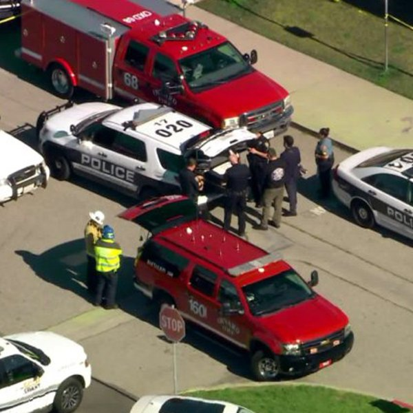 Police and paramedics respond to Christa McAuliffe Elementary School in Oxnard after a student was struck by a stray bullet on Jan. 23, 2020. (Credit: KTLA)