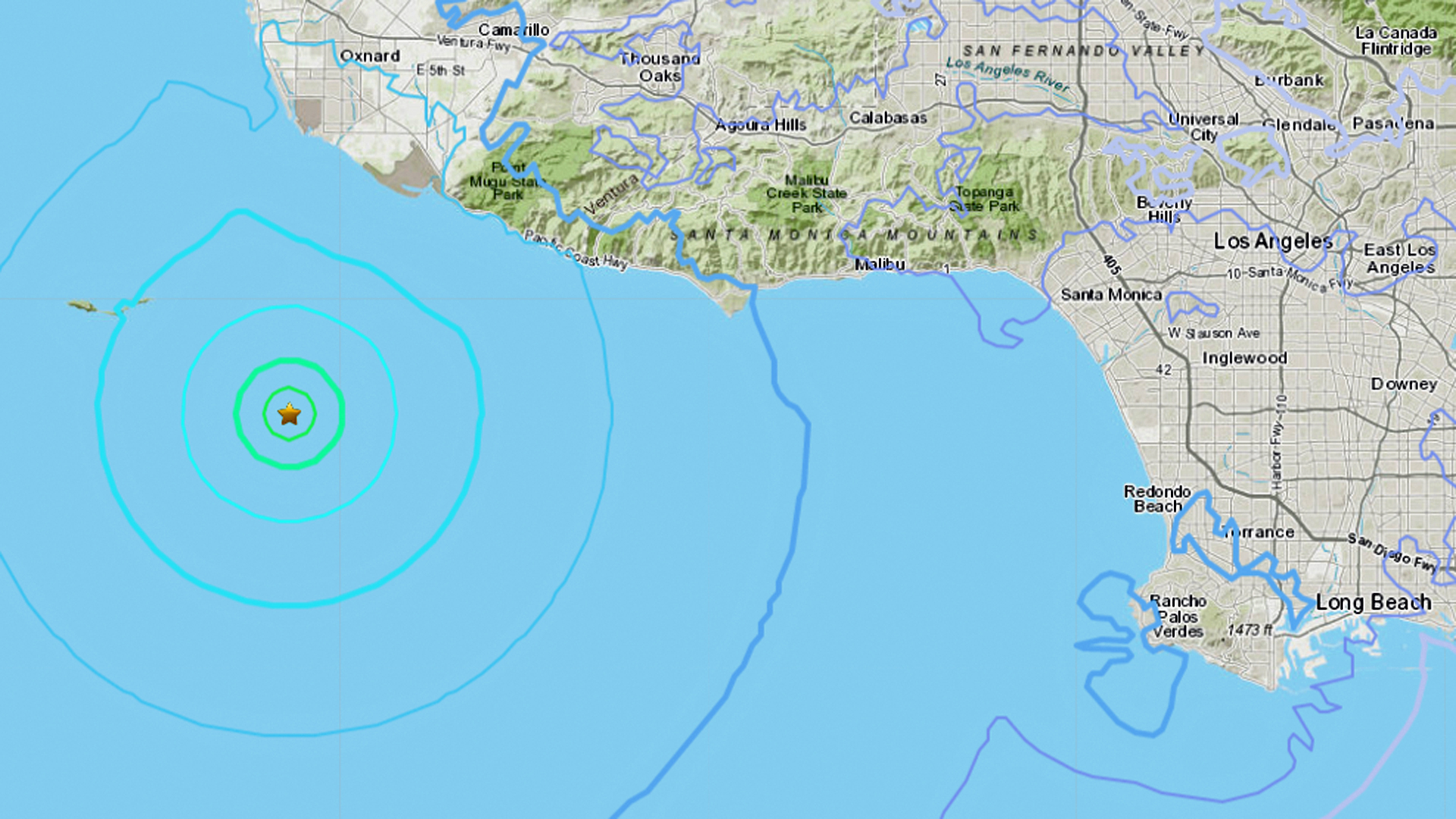 A 4.0 magnitude earthquake hit about 19 miles south of Oxnard on Jan. 2, 2019. (Credit: USGS)