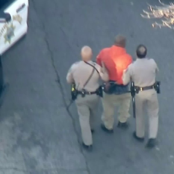 Man arrested after standoff, following a pursuit out of Kern County.