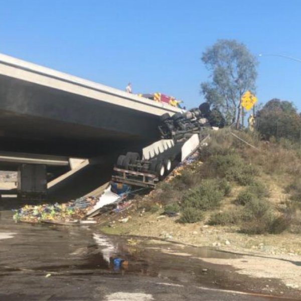 Fontana police tweeted out a photo of a Pespi struck that went over the side of the 15 Freeway on Jan. 8, 2020.