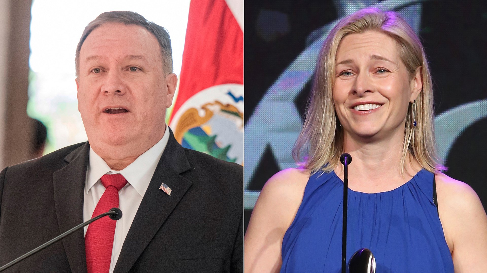Mike Pompeo, left, speaks during a press conference in San Jose, Puerto Rico on Jan. 21, 2020. Mary Louise Kelly, right, speaks at the Gracie Awards at the Beverly Wilshire Four Seasons Hotel on May 22, 2018. (Credit: EZEQUIEL BECERRA/AFP via Getty Images; Jesse Grant/Getty Images for Alliance for Women in Media)