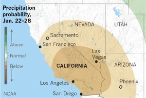A graphic shows the probability of precipitation in California from Jan. 22 to 28 in 2020. (Credit: Paul Duginski / Los Angeles Times)