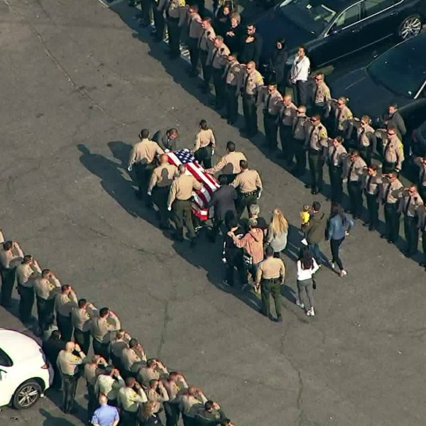 Sky5 footage shows a procession on Jan. 15, 2019 that escorted the body of Los Angeles County sheriff's Deputy Amber Leist from the county coroner in Boyle Heights to a funeral home in Covina.