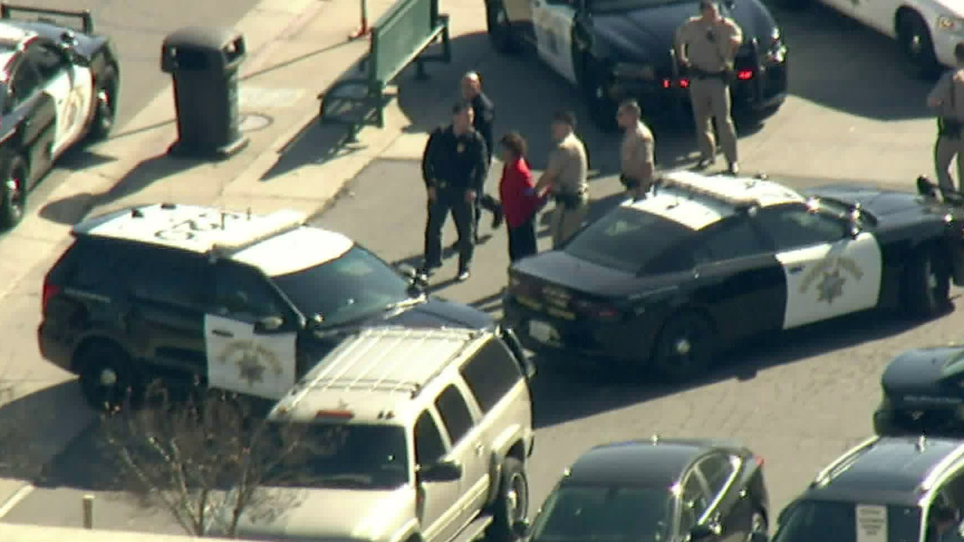 Officers take a suspected pursuit driver into custody outside an America's Tire location in Canoga Park on Jan. 28, 2020. (Credit: KTLA)