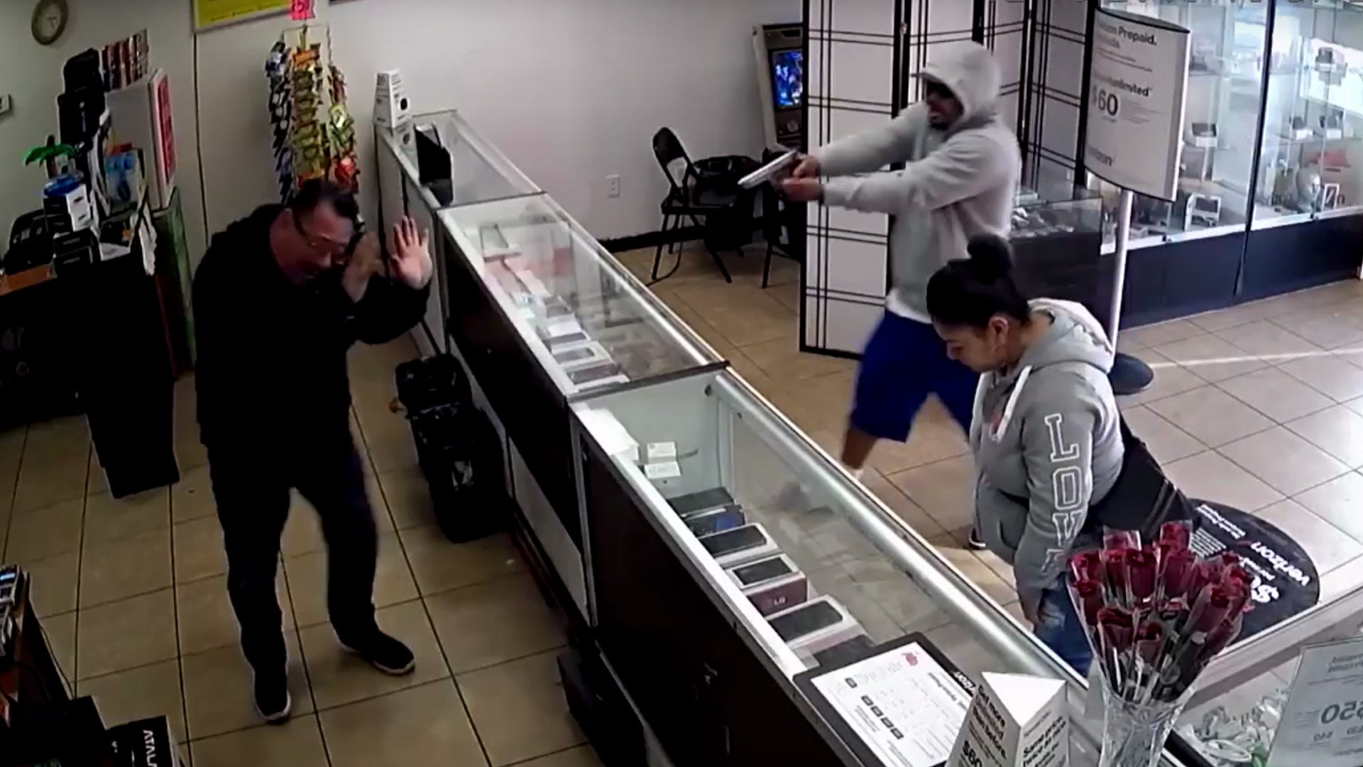 Security camera footage released by the San Bernardino Sheriff's Department shows an armed robbery that took place on Dec. 16, 2019, at a T-mobile store in Highland.