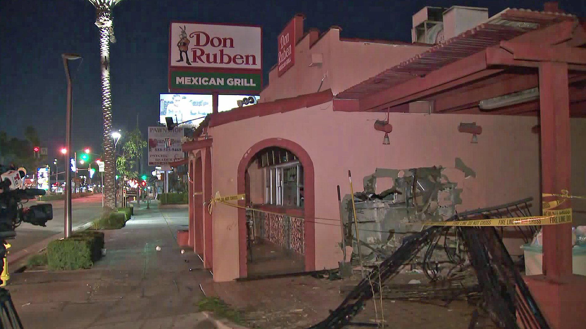 A pickup truck crashed into the Don Ruben Mexican Grill on Jan, 9, 2019. (Credit: KTLA)