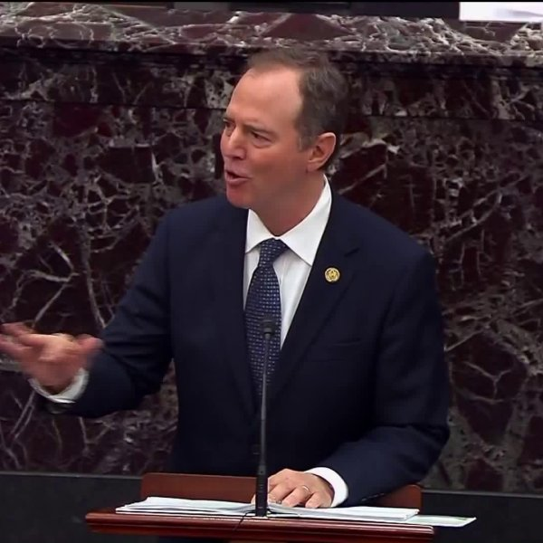 Rep. Adam Schiff of Burbank, the lead House impeachment manager, delivers his opening arguments on the Senate floor on Jan. 22, 2019. (Credit: CNN)