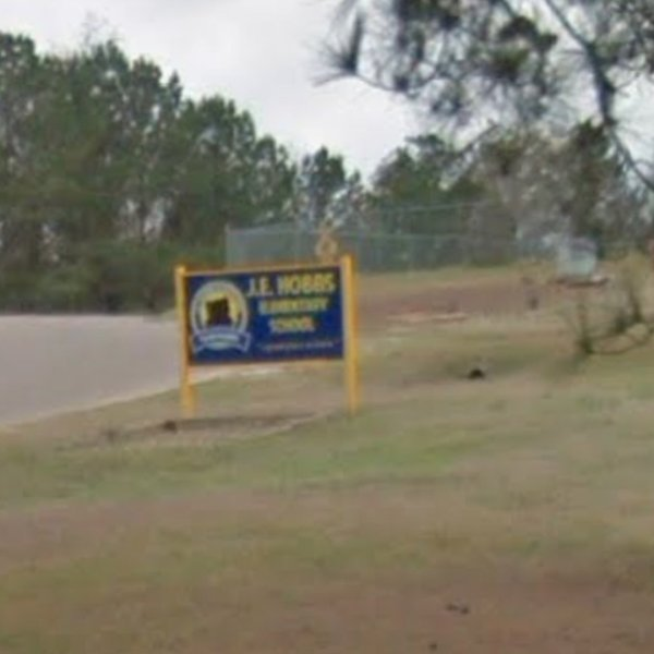 A sign for J.E. Hobbs Elementary School is seen in this Google Maps image.