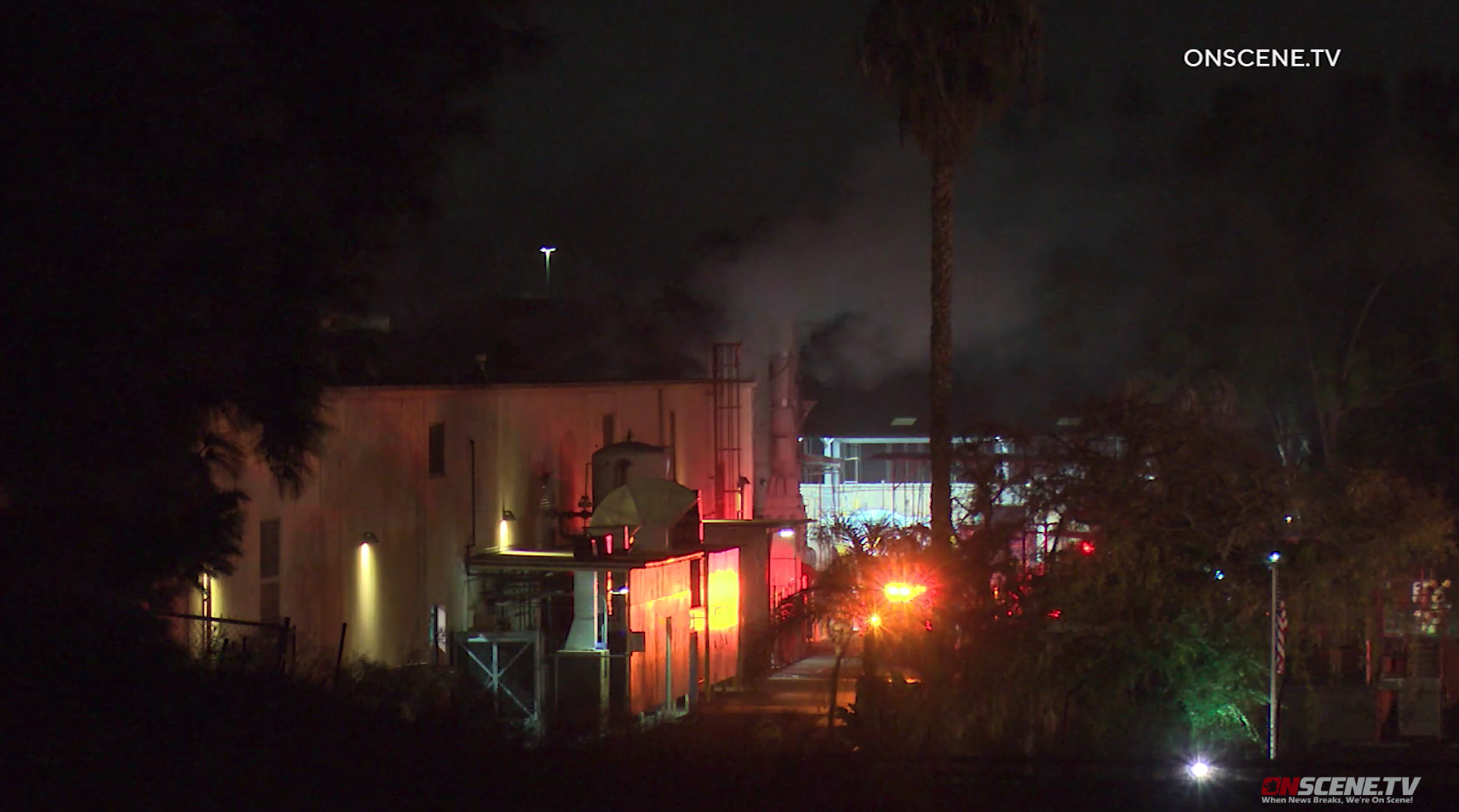 A fire at a commercial structure in Brea on Jan. 2, 2020. (Credit: Onscene.TV)