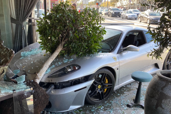 A Ferrari is seen after crashing into a West Hollywood restaurant on Jan. 5, 2019. (Credit: @speechless12070/ Twitter)