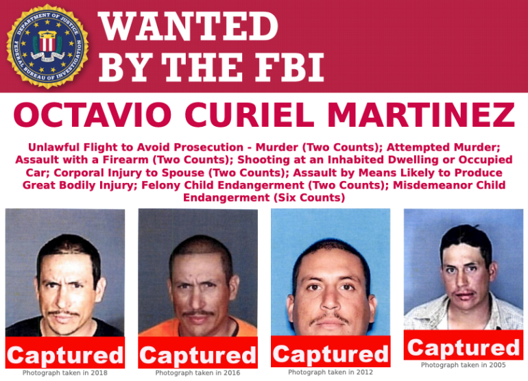 Octavio Curiel Martinez wanted poster, issued by the FBI.