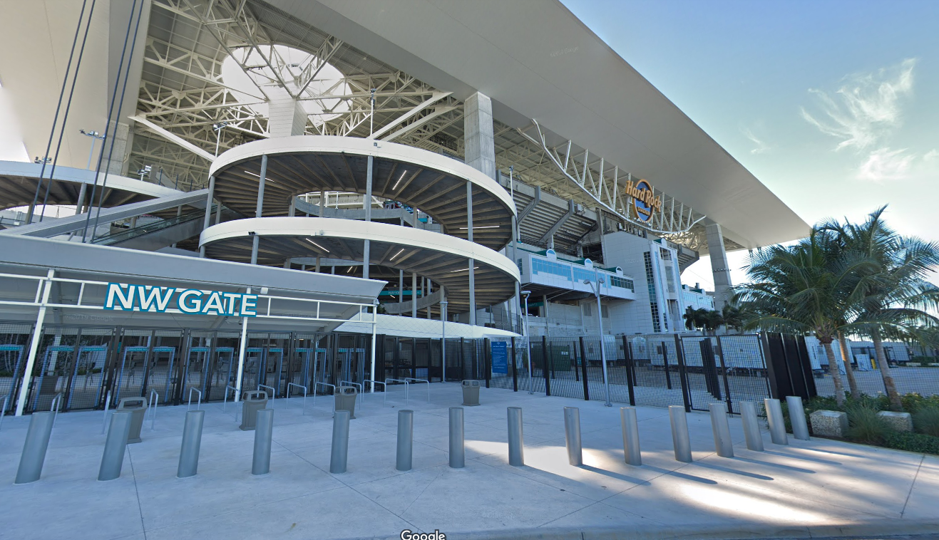 Hard Rock Stadium in Miami, Florida, is seen in a Google Maps Street View image.