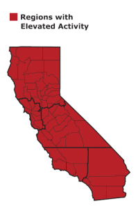 Ever county in California is experiencing elevated flu activity in the 2019-2020 flu season. (Credit: California Department of Public Health)