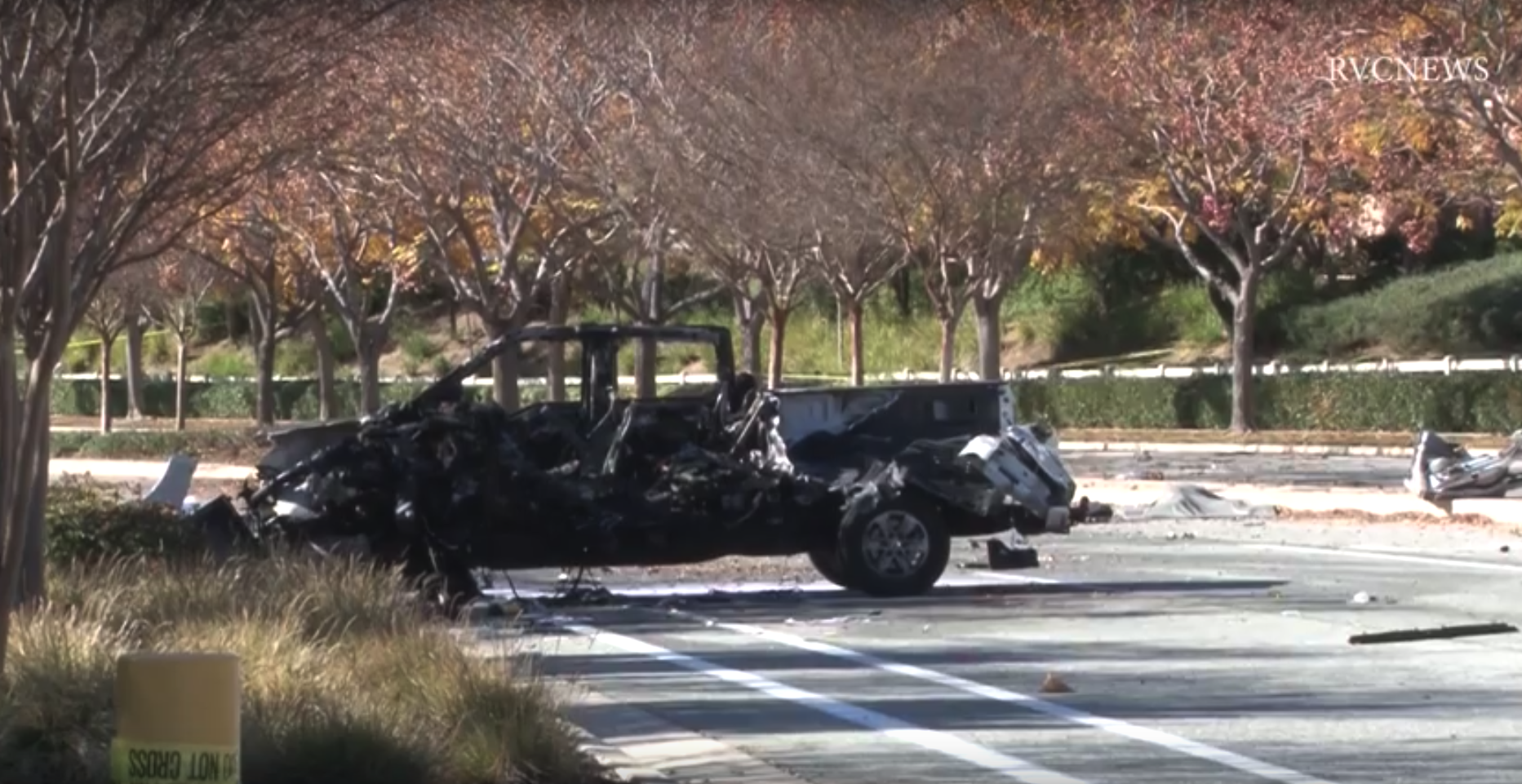 A vehicle is seen following a fiery crash in Temecula on Jan. 11, 2020. (Credit: RVCNEWS)