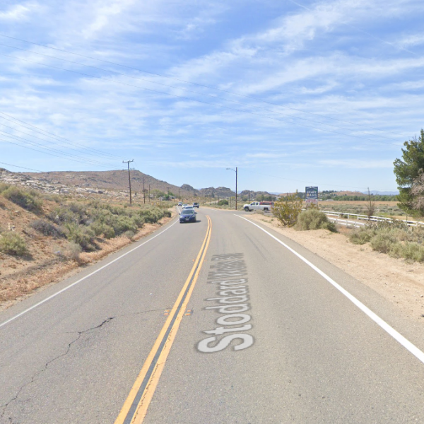 Stoddard Wells Road east of the 15 Freeway in Victorville is shown in a Google Maps image.