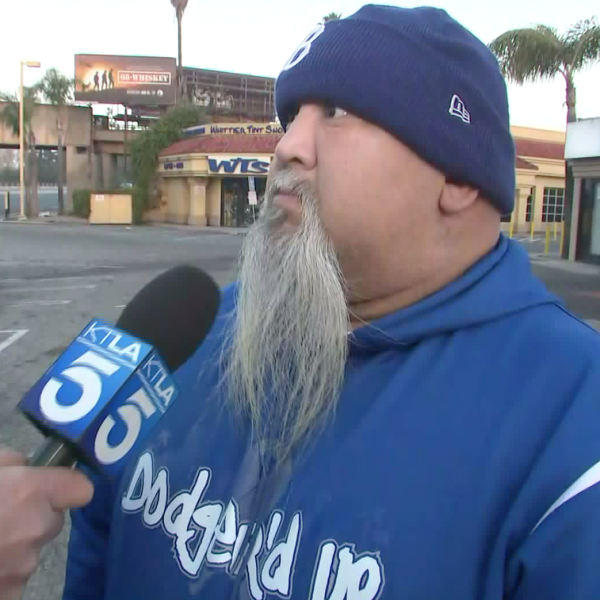 A Dodgers fan discusses the Astros cheating scandal with Eric Spillman on Jan. 14, 2020. (Credit: KTLA)
