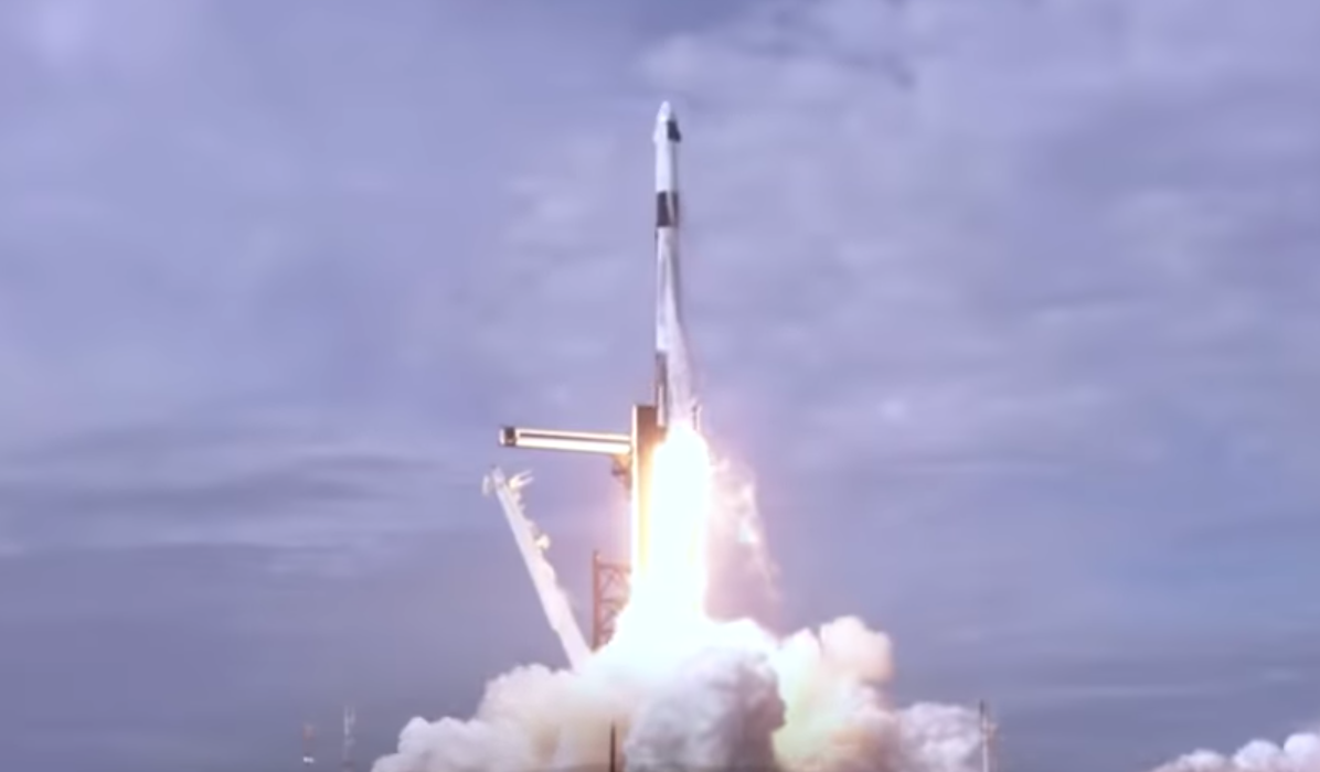 A still from a video released by SpaceX shows a Falcon rocket lifting off from Cape Canaveral, Florida on Jan. 19, 2020.