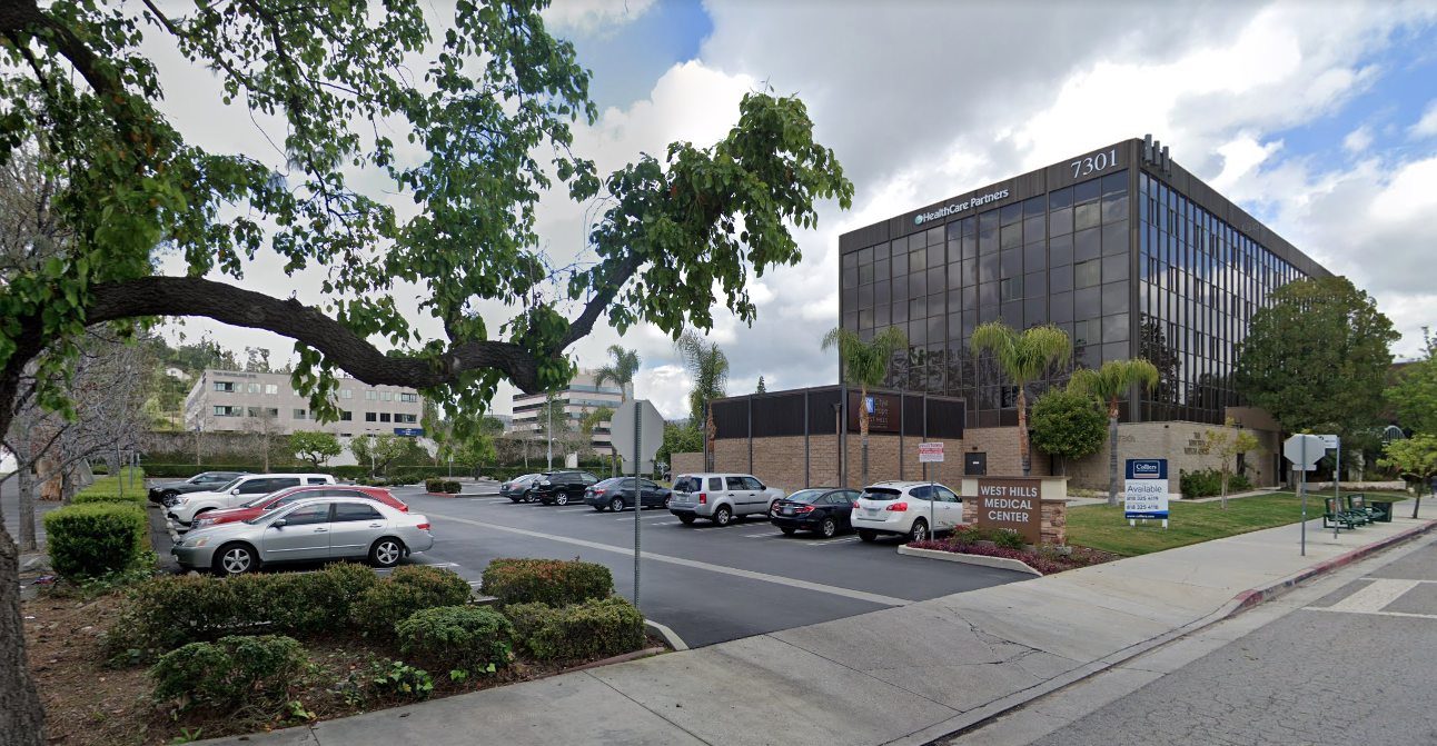 A parking lot at 7300 Medical Center Drive in West Hills is seen in a Google Maps Street View image.