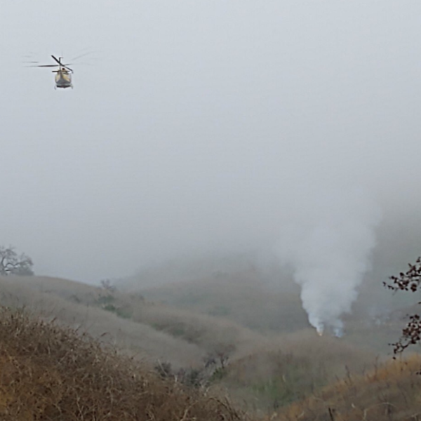A brush fire is seen on a hillside in Calabasas following the helicopter crash that killed Kobe Bryant and eight others in Calabasas on Jan. 26, 2020. (Credit: Los Angeles County Sheriff's Department)