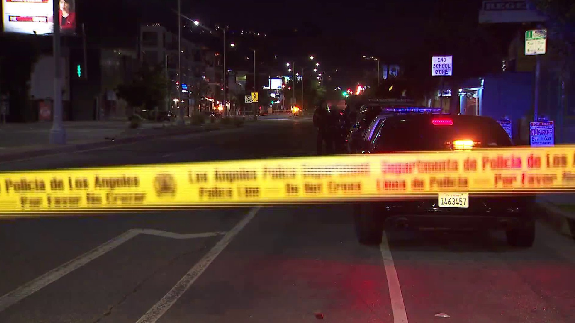 A Los Angeles Police Department crime scene tape is seen on Fairfax Avenue in the West Hollywood area, where a deadly shooting took place on Jan. 20, 2020. (Credit: KTLA)