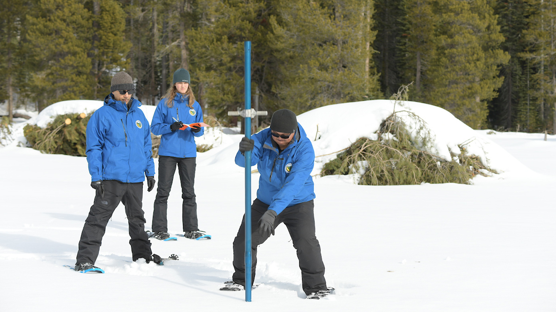 The California Department of Water Resources released this photo of the snowpack measurement on Jan. 2, 2020.