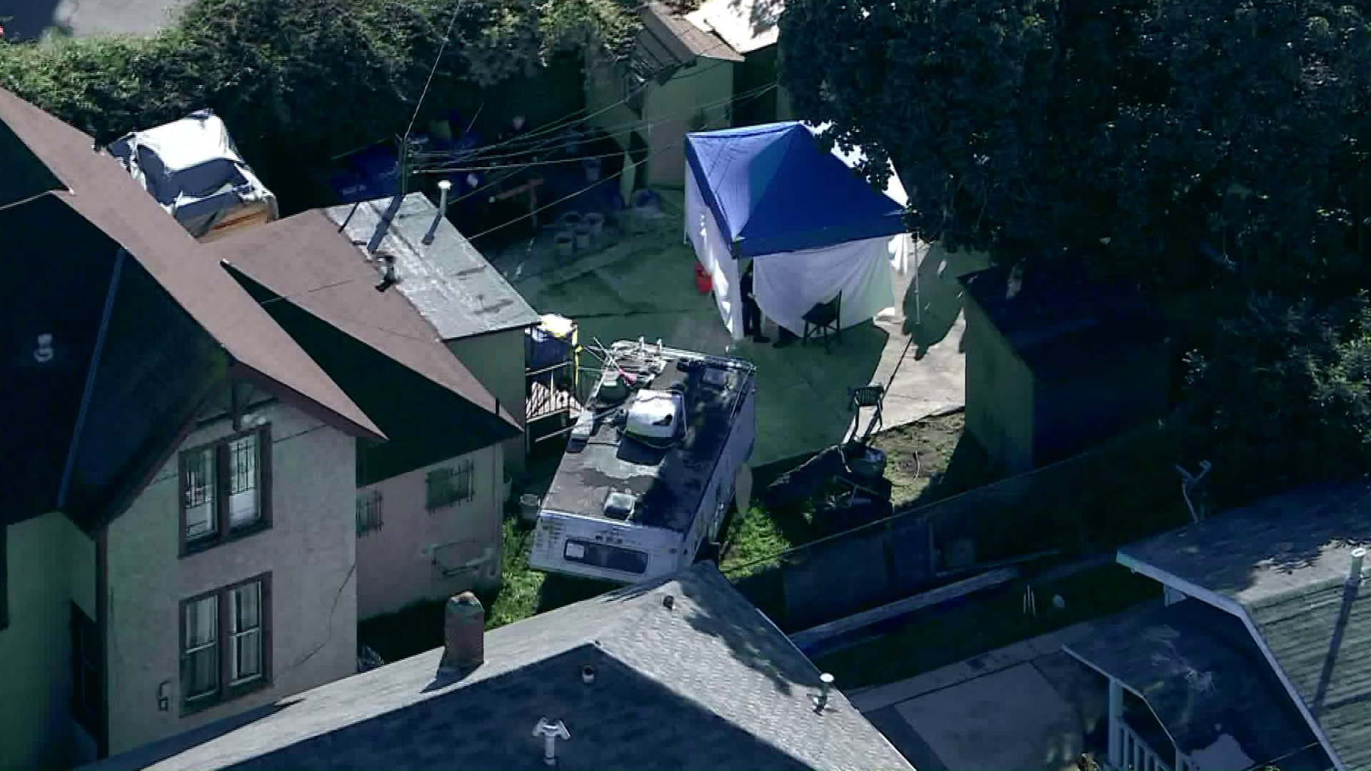 LAPD personnel were investigating a death in South Park on Jan. 23, 2020. (Credit: KTLA)