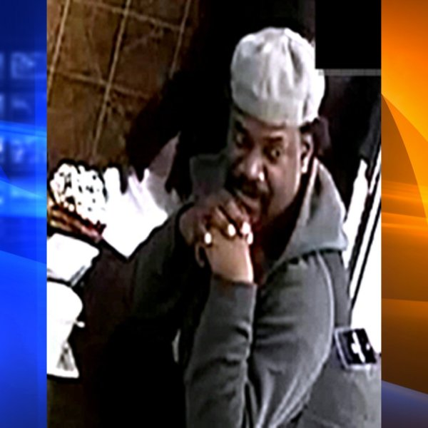 Homicide suspect Devan Lampkin, 49, described as homeless, pictured in a surveillance photo taken at the scene of a deadly Jan. 1, 2020, stabbing at a restaurant in L.A.'s Skid Row. (Credit: Courtesy)
