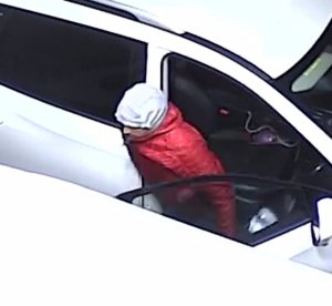 Santa Ana police released this surveillance image on Jan. 17, 2020, that shows a man sought in a theft at a gas station.