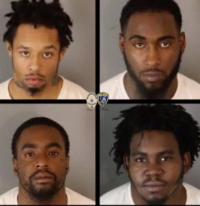 On left, going clockwise, pictured are Edward Russell Smith, Rueben Kelly, Jeffrey Taylor and Russell Wilkerson. (Credit: Riverside Police Department)