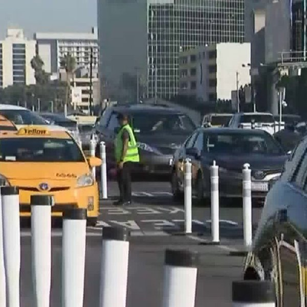Taxi cabs are seen at LAX in this file photo. (Credit: KTLA)