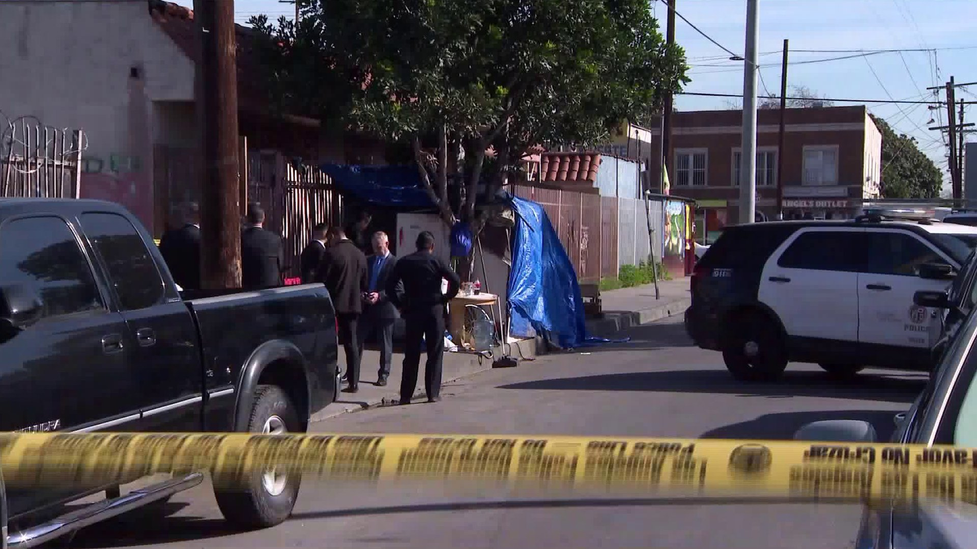LAPD officials respond to a homicide investigation in South L.A.'s South Park on Jan. 28, 2020. (Credit: KTLA)