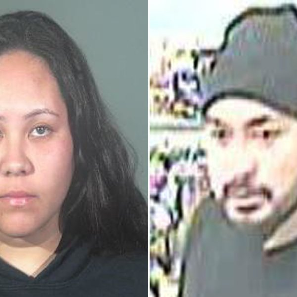 From left: Jordyn Kolone is seen in a Jan. 16, 2020, booking photo released by Torrance police, and her alleged male accomplice is seen in a surveillance image released by the department on Jan. 15, 2020.