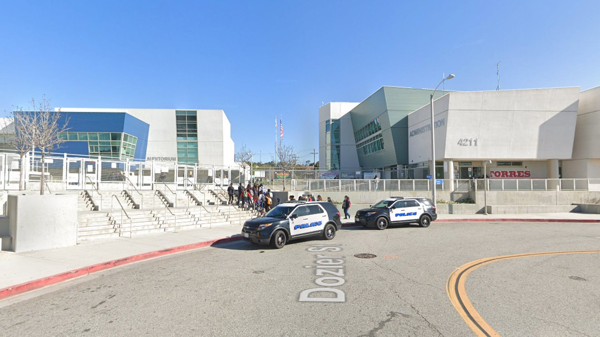 Esteban Torres High School in East Los Angeles is seen in a Google Maps Street View image.
