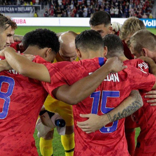 Players for the U.S. men's soccer team huddle in a photo that appears on the group's Twitter profile in January 2019.