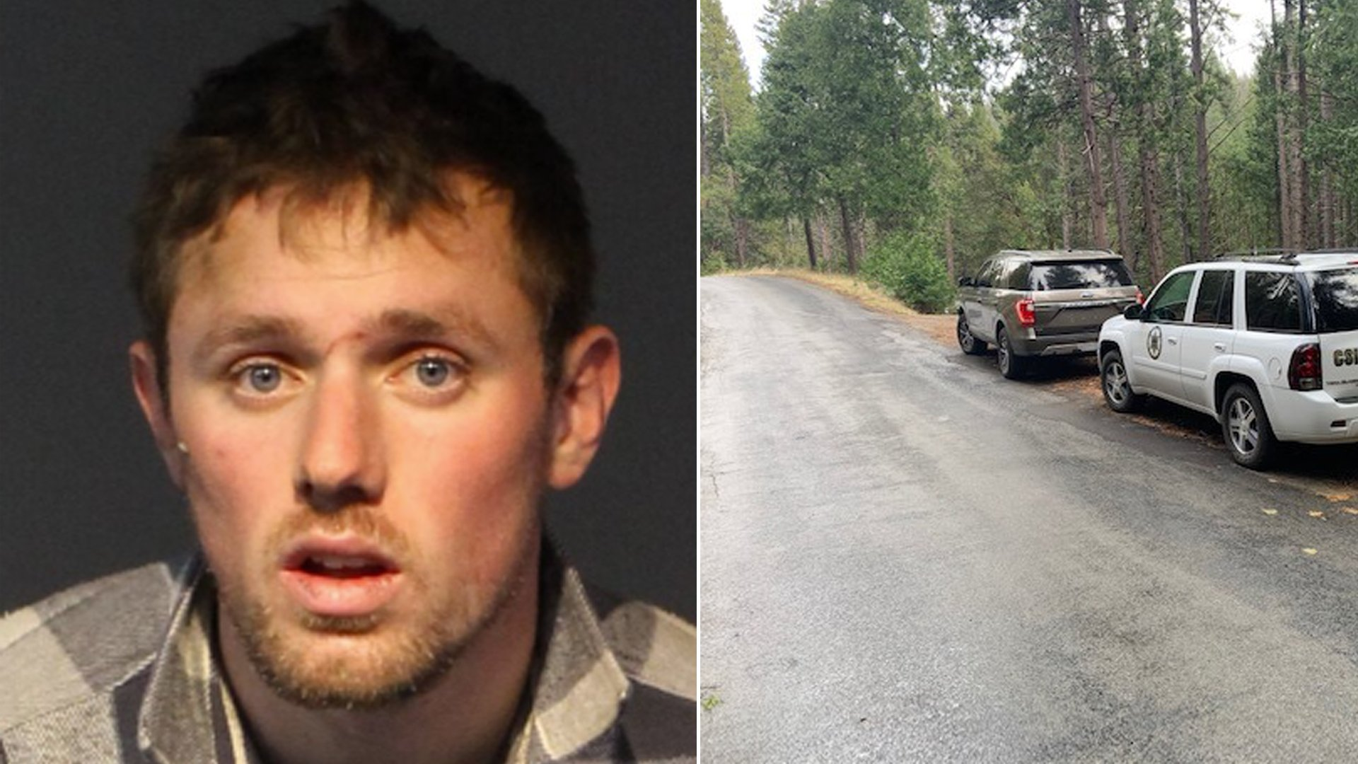 Sean Purdy, 20, is seen in an undated booking provided by the Washoe County Sheriff's Office. On the right, Deputies search an area in Amador Pines, Pioneer, in a photo released by the Amador County Sheriff's Office.
