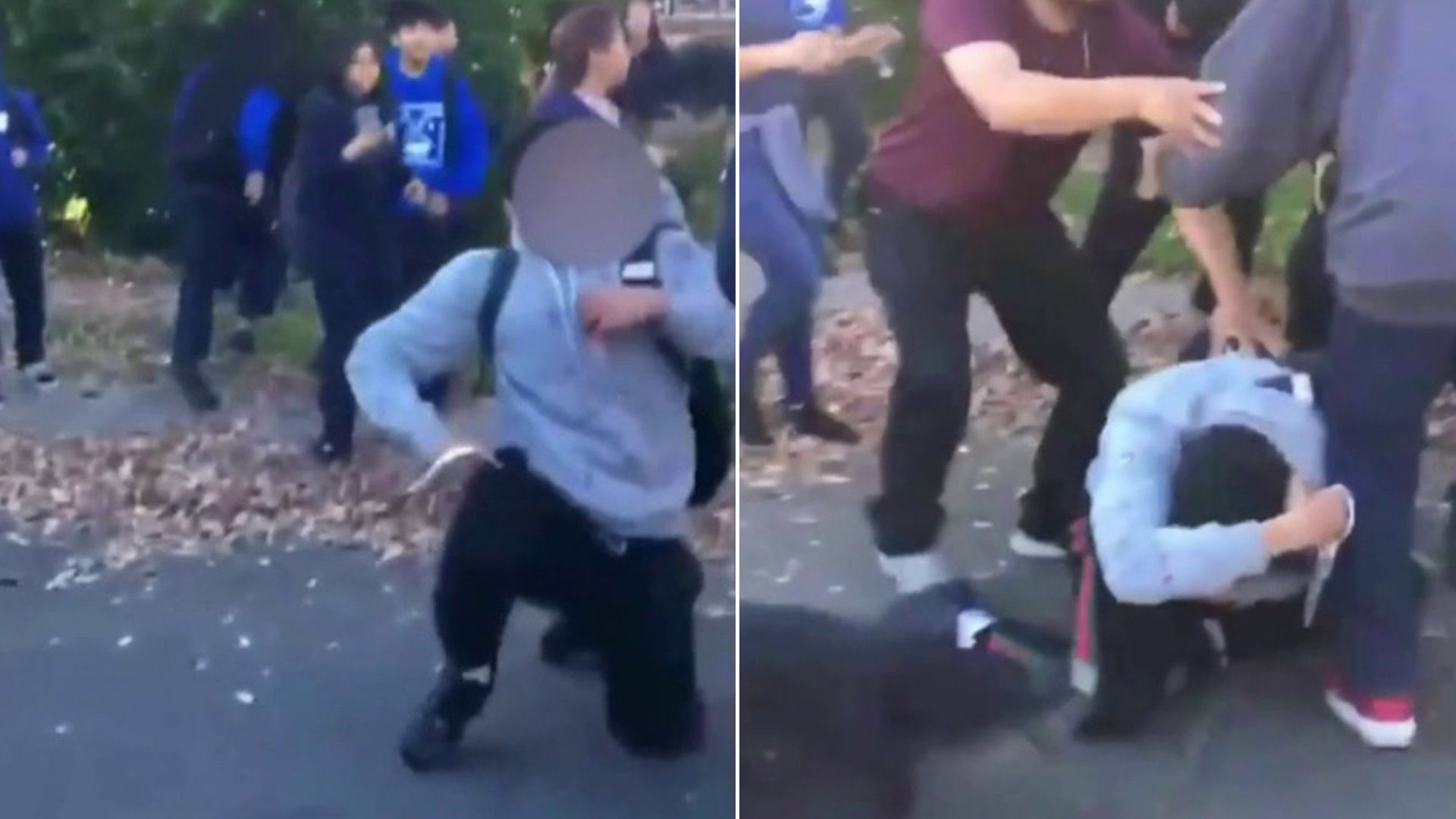 Cellphone video shows a person holding a sharp objectduring a brawl outside Mulholland Middle Schoolin Lake Balboa on Jan. 24, 2020.