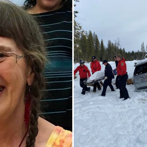Paula Beth James is rescued after having been missing for six days in Butte Meadows. (Credit: Butte County Sheriff's Office.)