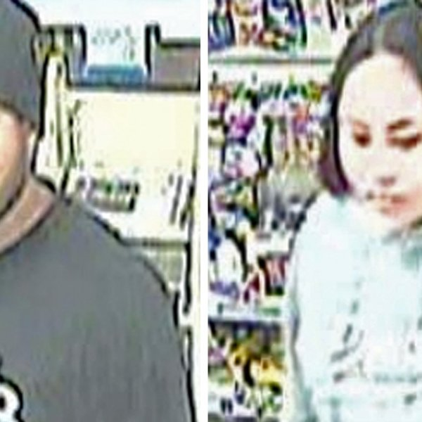 Two suspects in the assault of a Torrance 7-Eleven employee are seen in surveillance images released by the Torrance Police Department on Jan. 15, 2020.