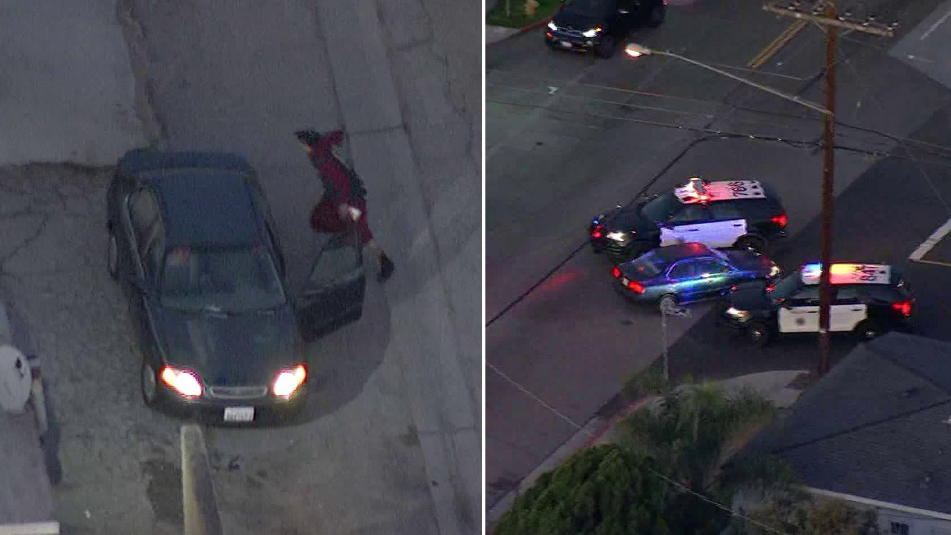 A pursuit suspect abandons his car after eluding police in the city of San Pedro on Jan. 30, 2020, despite a PIT maneuver by one of the officers. (Credit: KTLA)