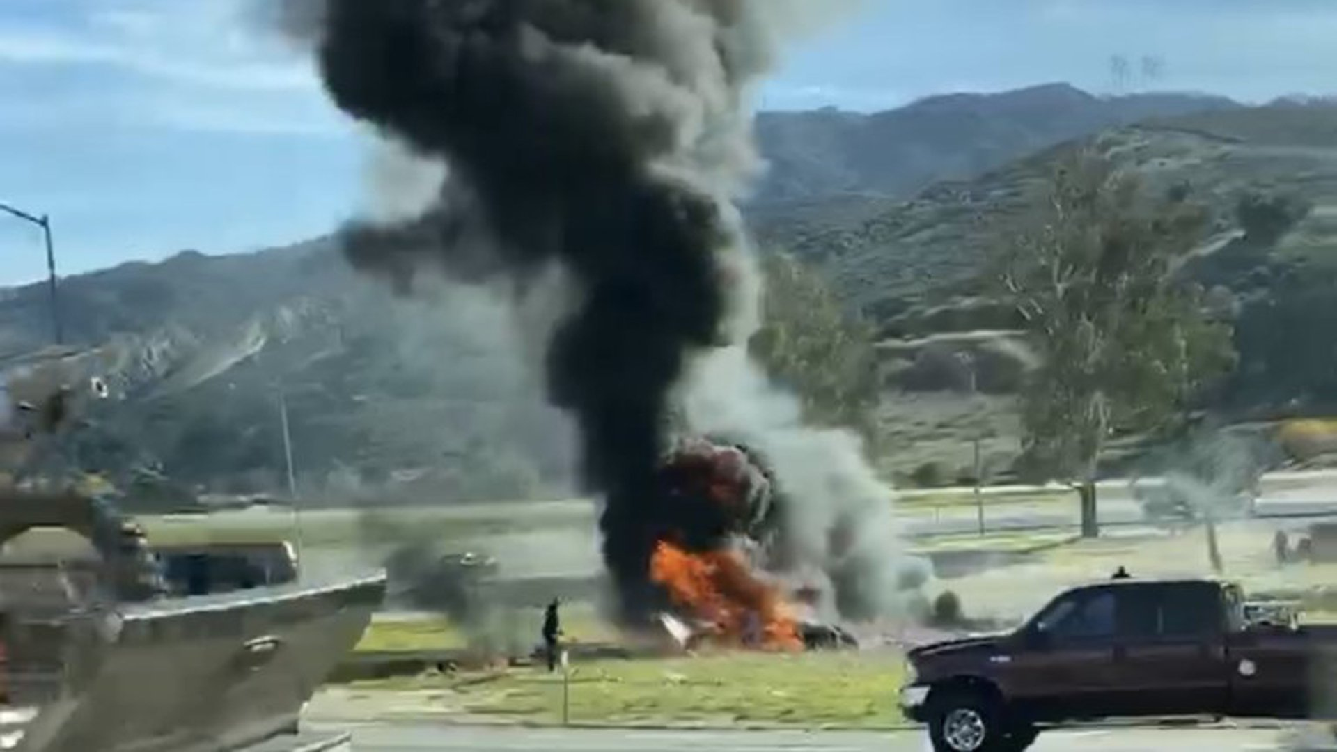 A small plane burning after crashing in Santa Clarita on Jan. 4, 2019, is seen in a photo shared by KTLA viewer Julia Morales.