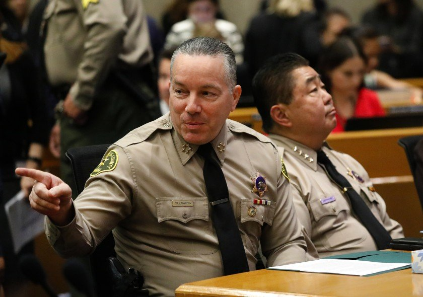 Los Angeles County Sheriff Alex Villanueva, left, appears in an undated photo. (Al Seib/ Los Angeles Times)