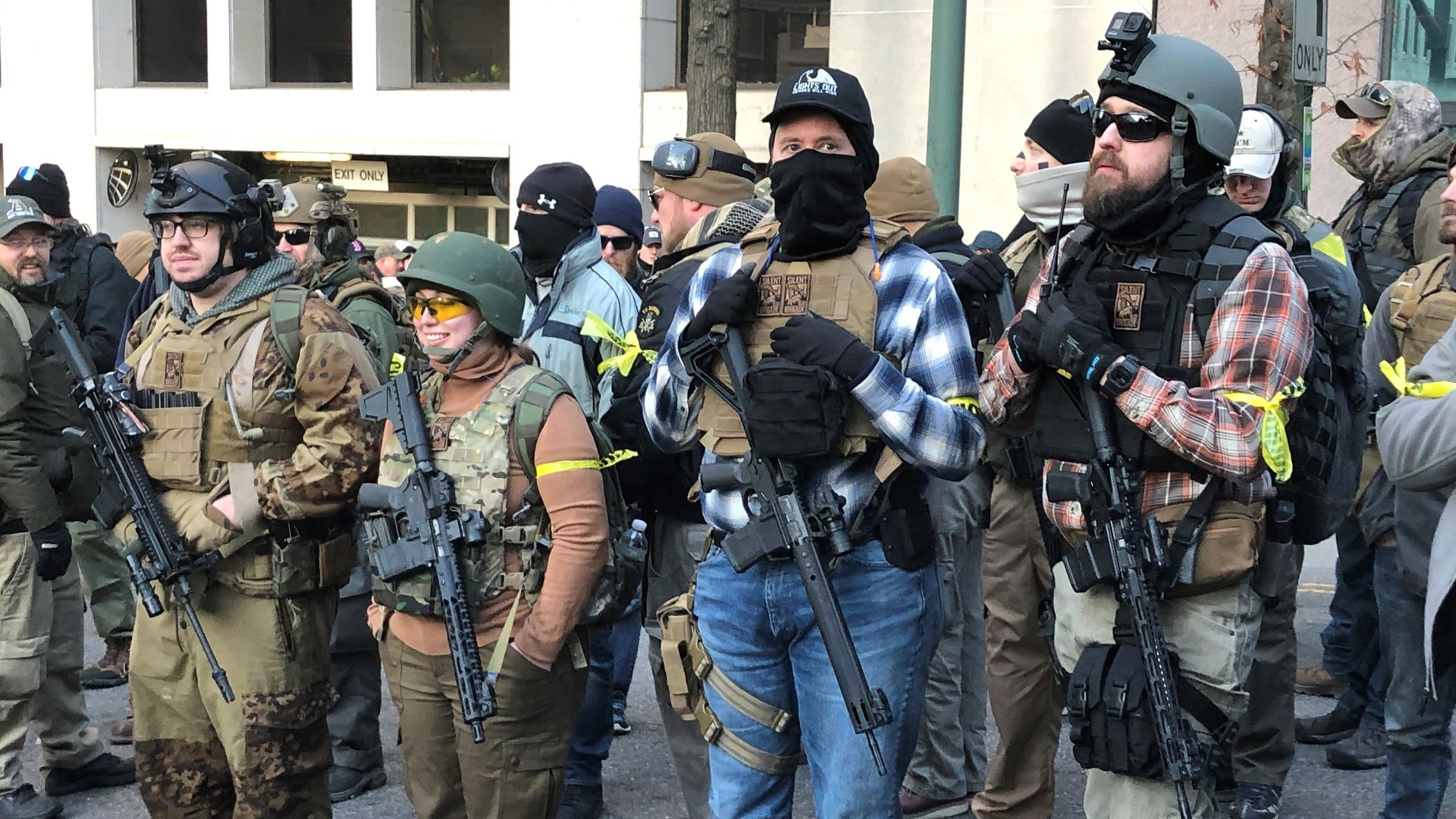 Photos of heavily armed people at the Lobby Day rally in Richmond, Virginia, on Jan. 20, 2020. These people are outside of the secured, weapons-ban area on the State Capitol grounds. (Credit: Sara Sidner/CNN)
